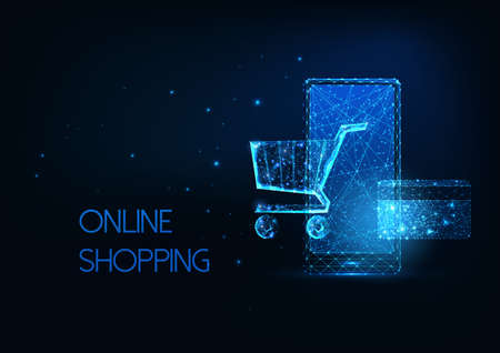 Futuristic online shopping, e-commerce concept with glowing smartphone, shopping cart, credit card