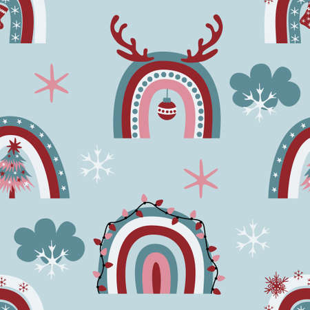Cute christmas rainbows seamless pattern with decorative clouds, snowflakes, antlers, xmas lights