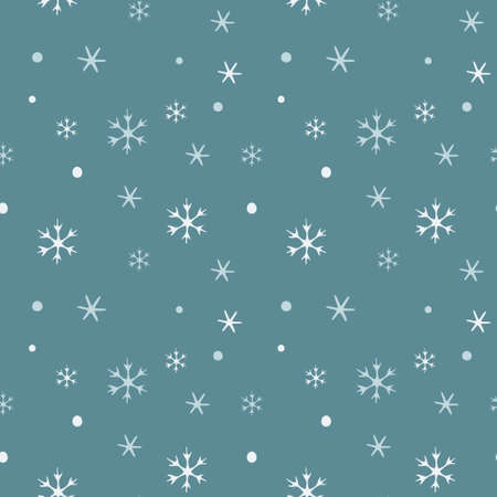 Seamless pattern with falling snowflakes on a blue background 일러스트