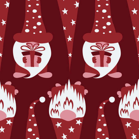 Christmas seamless pattern with cute festive scandinawian gnomes on red background
