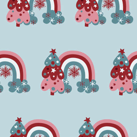 Cute christmas rainbows and pine trees seamless pattern on light bue background.
