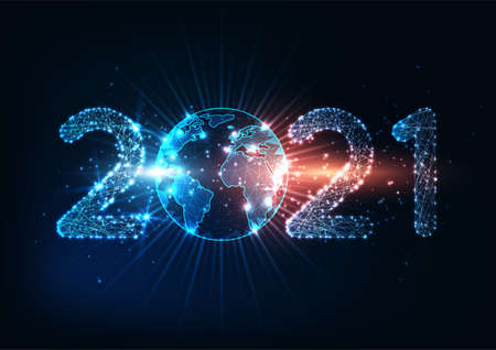 Futuristic New Year digital web banner with glowing low polygonal 2021 number and planet earth globe 일러스트