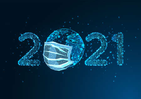 Pandemic New Year digital web banner with glowing 2021 number and earth globe with medical mask 일러스트