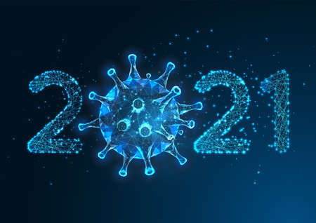 Futuristic Pandemic New Year digital banner with glowing low polygonal 2021 number and coronaviru.