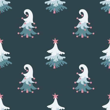 Cute christmas pine trees seamless pattern on greyish bue background. 일러스트