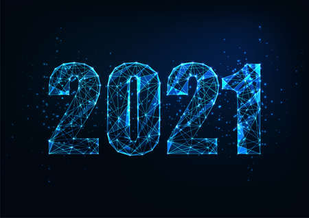 Futuristic New Year digital web banner template with glowing low polygonal 2021 number on dark blue