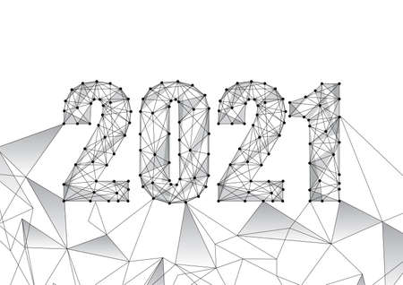 Futuristic New Year digital web banner template with black low polygonal 2021 number on white.