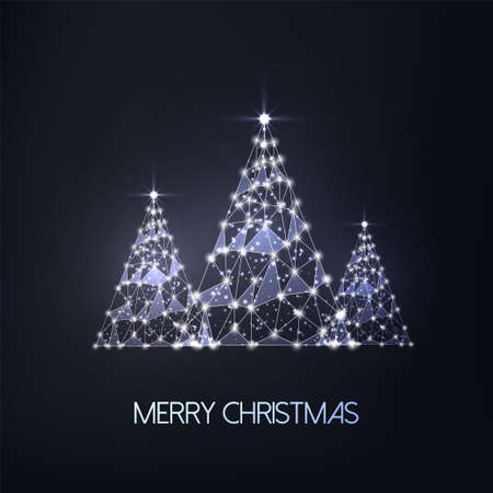 Merry Christmas greeting card with three futuristic glowing low polygonal trees on black 일러스트
