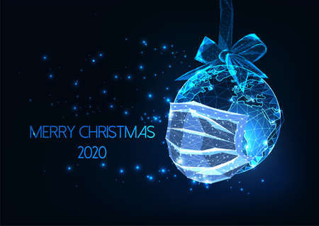 Futuristic Pandemic Christmas web banner with glowing low polygonal earth globe with medical mask