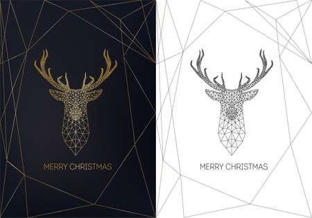 Merry Christmas greeting card template with golden linear low polygonal deer head 일러스트