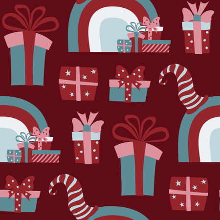 Christmas seamless pattern with red scandinawian gnomes holding gift boxes and xmas stockings