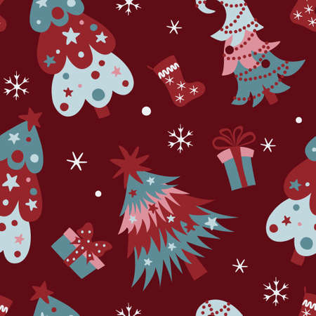 Christmas seamless pattern with pine trees, gift boxes, xmas stockings, snowflakes on dark red background.  イラスト・ベクター素材