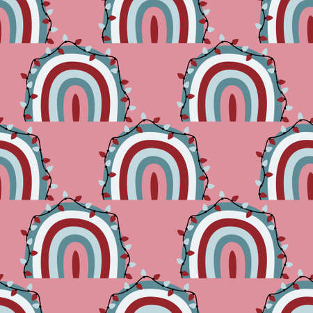 Cute christmas rainbows seamless pattern with colorful decorative rainbows and xmas lights on pink  イラスト・ベクター素材