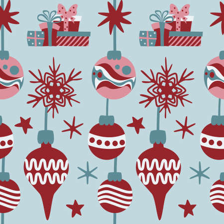 Christmas seamless pattern with decorative baubles, stars, snowflakes and gift boxes