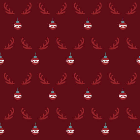 Cute christmas seamless pattern with reindeer antlers and xmas bauble ornaments on dark red  イラスト・ベクター素材