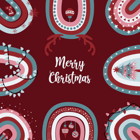 Cute Merry Christmas greeting card with festive decorated rainbows on dark red background.