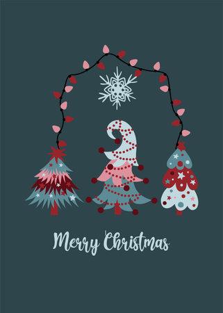 Merry Christmas greeting card with three festive christmas trees, xmas lights and snowflake o