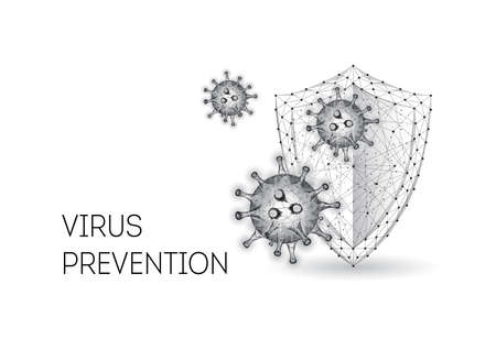 Futuristic protection from covid-19 disease concept with low polygonal shield and corona virus cells  イラスト・ベクター素材