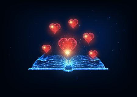 Futuristic book love, romantic literature reading concept