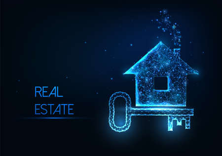 Futuristic real estate agency concept with glowing low polygonal house and door key on dark blue