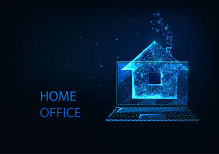 Futuristic home office concept with glowing low polygonal laptop and house isolated on dark blue  イラスト・ベクター素材