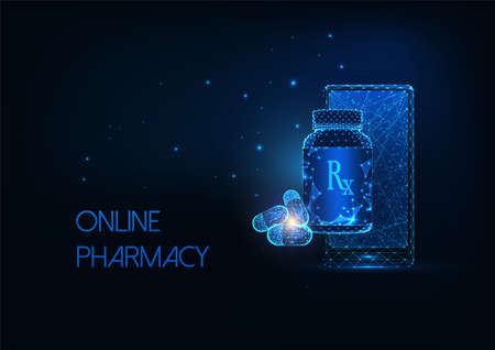 Futuristic online pharmacy concept with glowing smartphone, capsule pills and medicine bottle  イラスト・ベクター素材