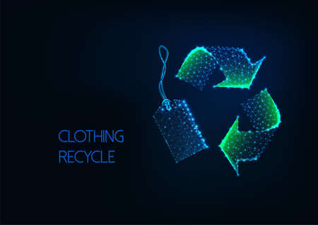 Futuristic low poly green recycle sign with retail price tag on dark blue background.