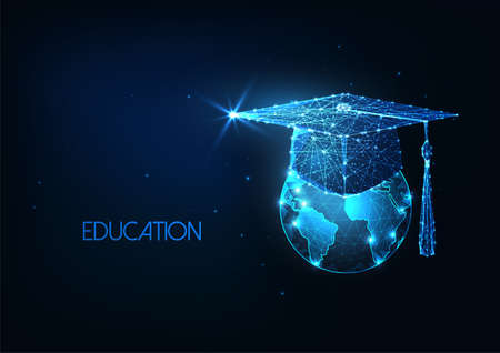 Futuristic international eductaion concept with glowing low polygonal graduation cap and Earth globe