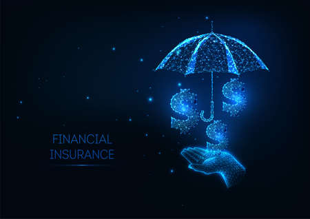 Futuristic Finance Insurance policy services concept with glowing hand holidng umbrella and dollar