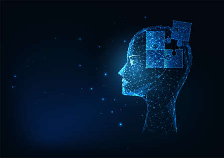 Futuristic glowing low polygonal human head with puzzles elements for psychology or medical