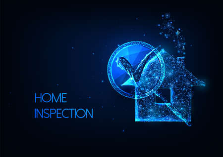 Futuristic Home inspection.concept with glowing low polygonal residential house and magnifying glass Reklamní fotografie - 163816851