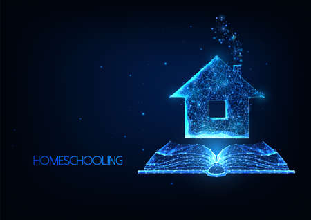 Futuristic Homeschooling, Online tuition remotely concept with glowing low polygonal house and book 일러스트