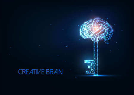 Futuristic creative brain, innovatiove idea concept with glowing low polygonal brain with a key