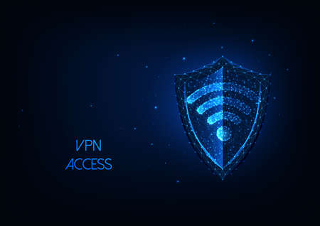 Futuristic VPN cvirtual private network oncept with glowing low polygonal shield and wifi symbol