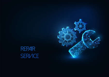 Futuristic repair service concept with glowing low polygonal gears and wrench isolated on dark blue