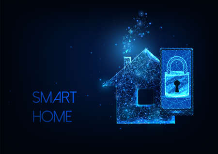 Futuristic smart home concept with glowing low polygonal smartphone, lock and house on dark blue