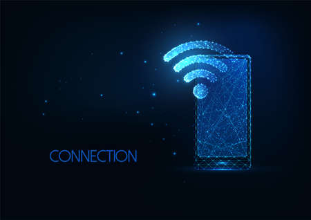 Futuristic wifi network concept with glowing low polygona smartphone and wifi symbol 일러스트