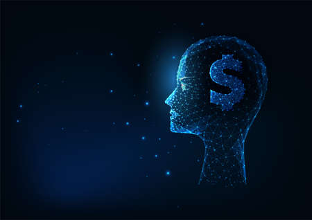 Futuristic businessman concept with glowing low polygonal human head and dollar sign on dark blue 일러스트