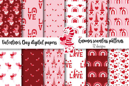 Valentinines day seamless pattern collection with cute Gnomes, rainbows, hearts, Love words