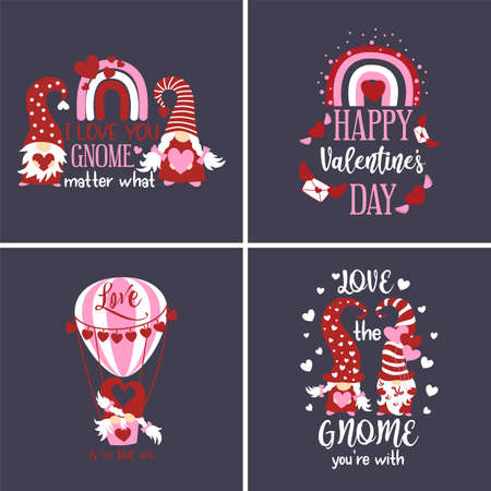 Set of Valentines Day greeting cards with cute scandinavian gnomes, rainbow, hot air balloon Ilustração