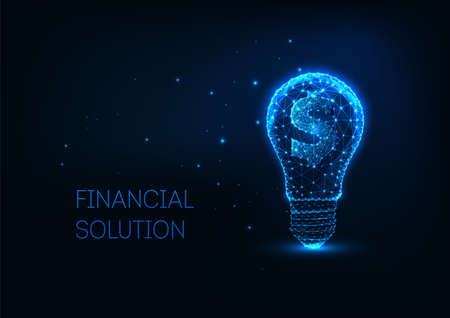 Futuristic money making, investment concept with glowing low polygonal lightbulb and dollar sign Ilustração