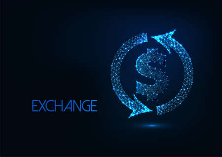 Futuristic money exchange concept with glowing low polygonal dollar sign and circle arrowws