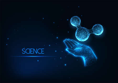 Futuristic scientific research concept with glowing low polygonal human hand and molecule