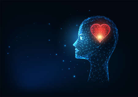 Futuristic lowing low polygonal silhouette of head with heart symbol isolated on dark blue Ilustração