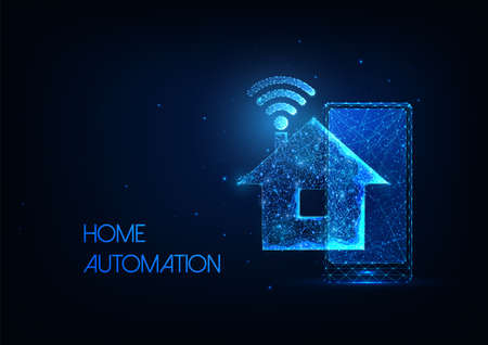 Futuristic smart house technology system concept with glowing low polygonal house, phone and wifi