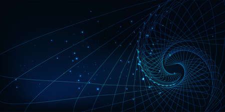 Futuristic science and technology abstract banner with glowing low polygonal spiral pattern