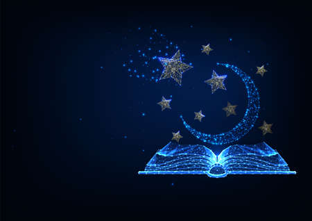 Futuristic storytelling, mystery stories concept with glowing low polygonal book, stars and moon