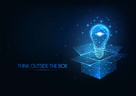 Futuristic thinking outside the box concept with glowing low polygonal light bulb over opened box Ilustrace