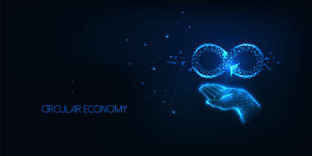 Futuristic circular economy concept with glowing low polygonal human hand holding infinity sign