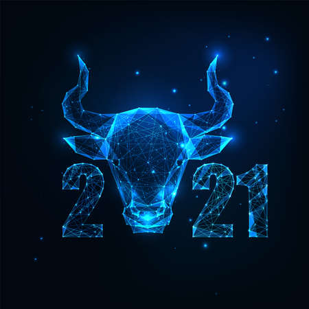 Futuristic Chinese 2021 New Year greeting card template with glowing low polygonal ox horoscope sign